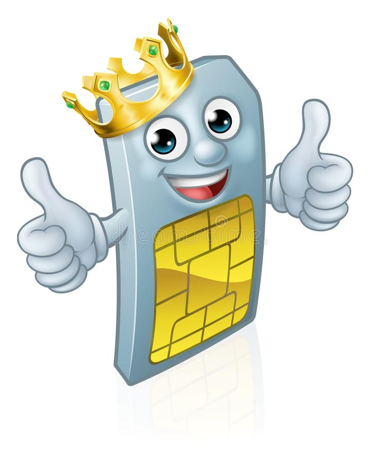 Sim Card Mobile Phone Thumbs op Koning Mascot stock illustratie