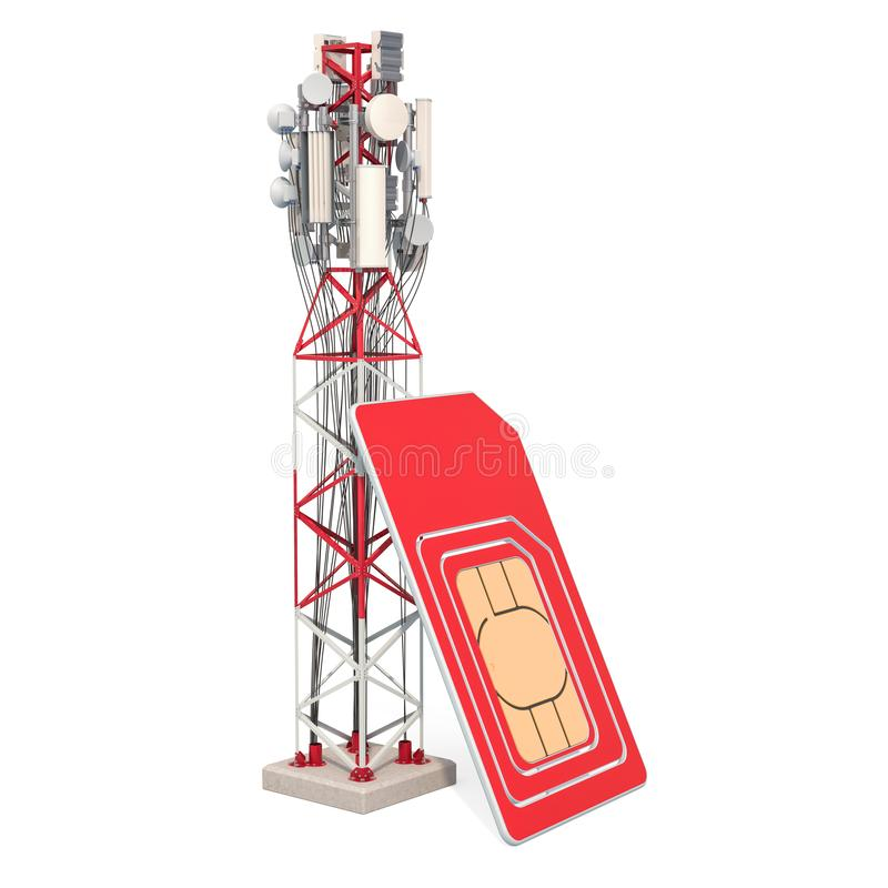 Sim card with mobile tower. 3D rendering. Isolated on white background vector illustration