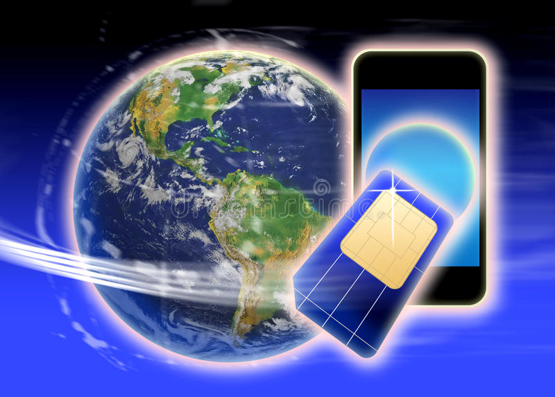 Sim card phone world vector illustration
