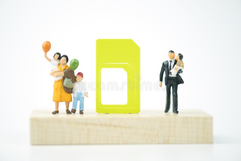 Sim card for safety of internet and mobile phone in family royalty free stock images