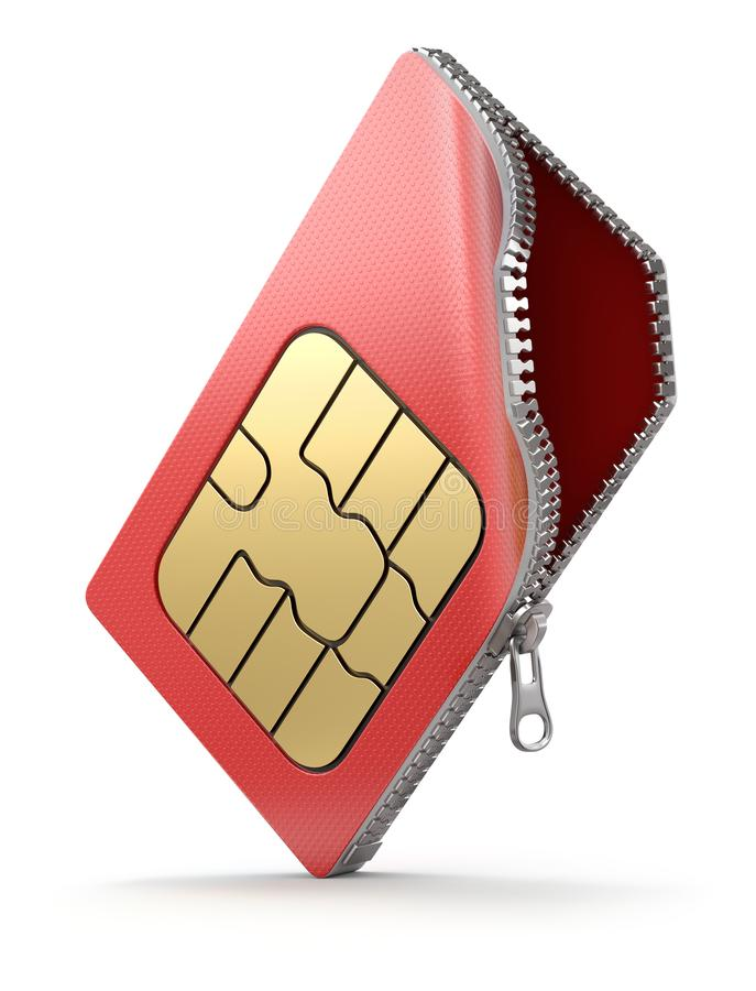 SIM card with the zipper stock illustration