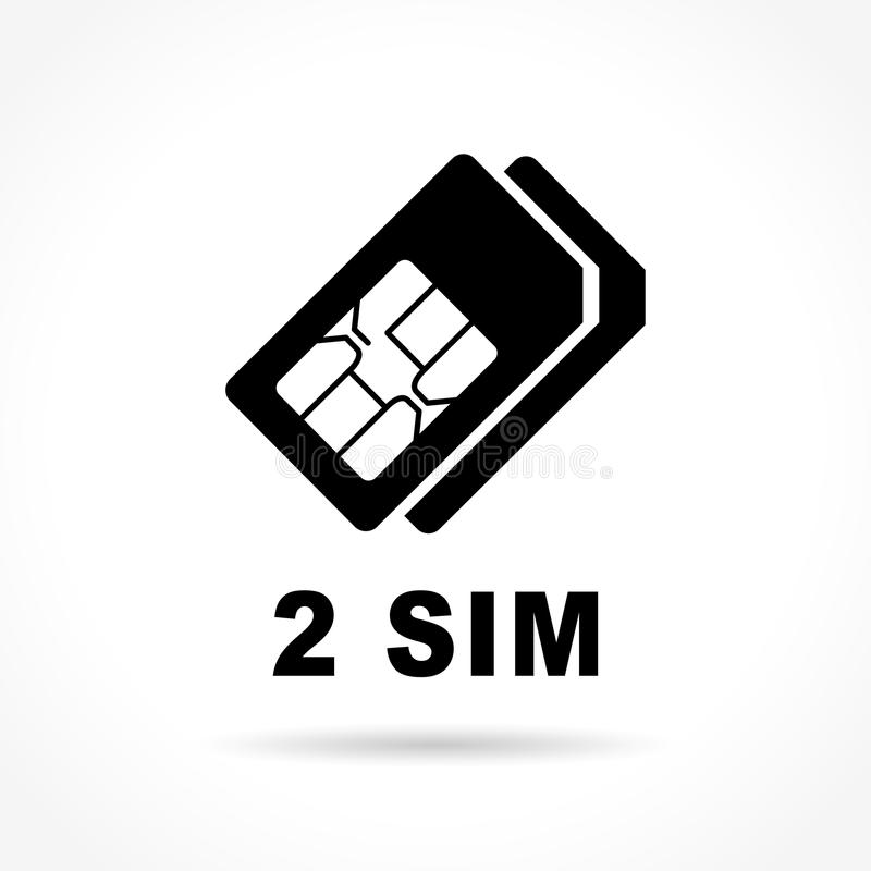 Sim cards icon on white background stock illustration