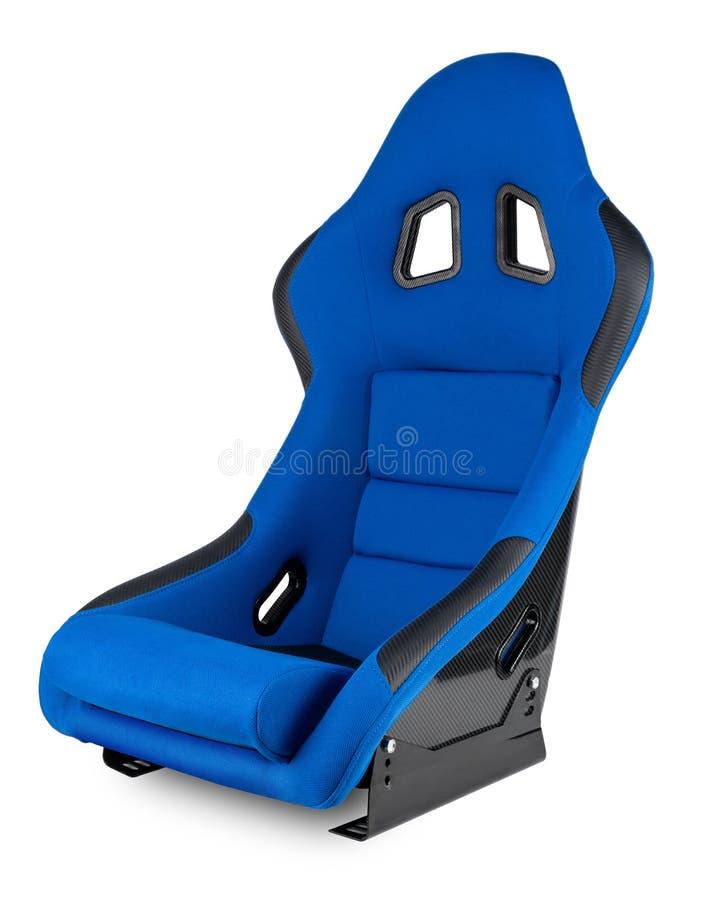 Sim de adaptación negro azul del coche de carreras del motorsport de la fibra de carbono que compite con el fondo blanco aislado  fotografía de archivo