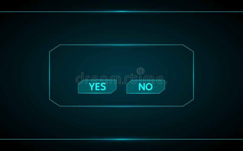 Sim e nenhum projeto do vetor do botão do jogo no fundo futurista do hud da relação da tecnologia ilustração royalty free