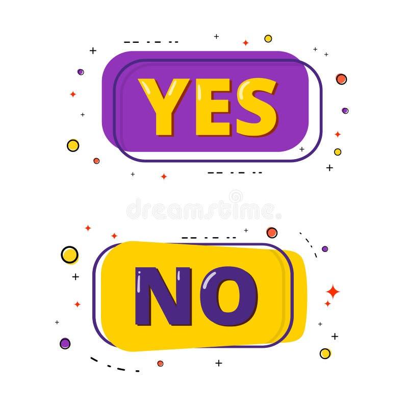 Sim e nenhuma rotulação Ilustração do vetor ilustração royalty free