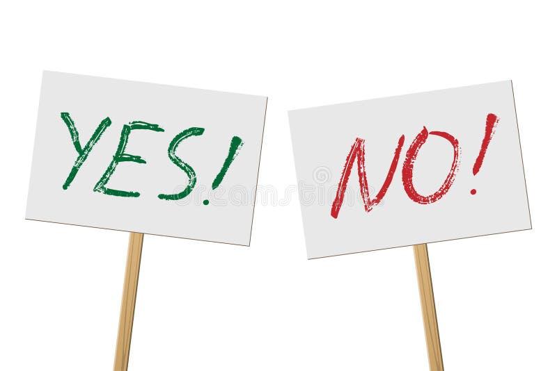 Sim e nenhumas bandeiras dos sinais na coleção de madeira da vara Sinais do protesto do vetor consigo e nenhumas palavras isolado ilustração do vetor