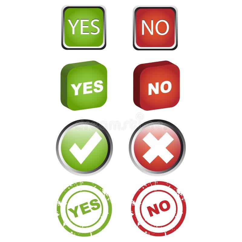 Sim e nenhuns ícones ajuste ilustração do vetor