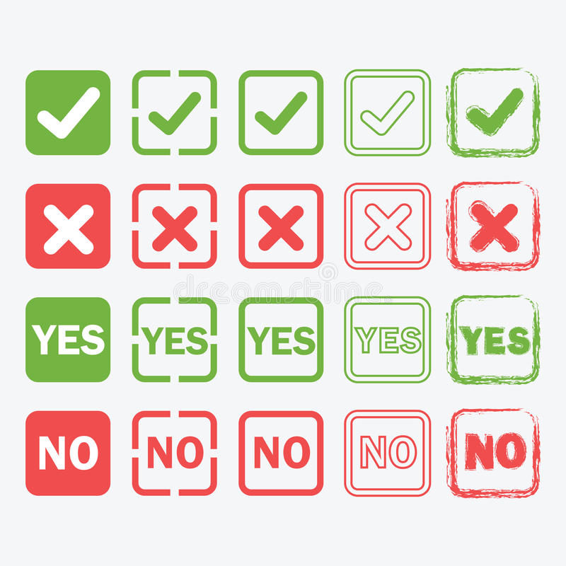 Sim e nenhuns ícones quadrados nos estilos da silhueta e do esboço ajustados fotografia de stock royalty free