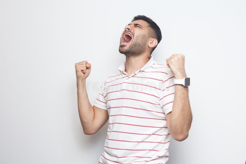 Sim eu ganho Retrato do homem novo farpado considerável gritando feliz em posição listrada do t-shirt com punhos e no júbilo ou foto de stock royalty free