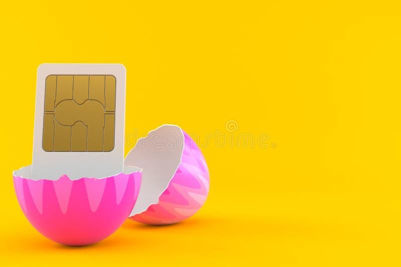 SIM-kort inom det easter ägget vektor illustrationer