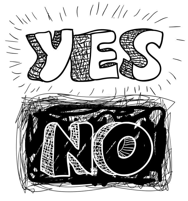 Sim-não ilustração royalty free