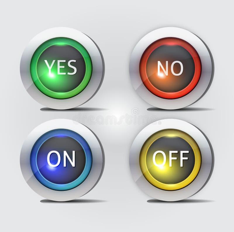 Sim nenhum e fora de botões ilustração royalty free