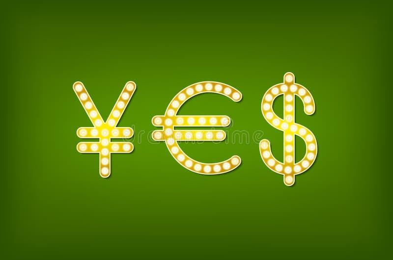 Sim no símbolo do dinheiro do formulário, vintage do vetor 3d ilustração royalty free