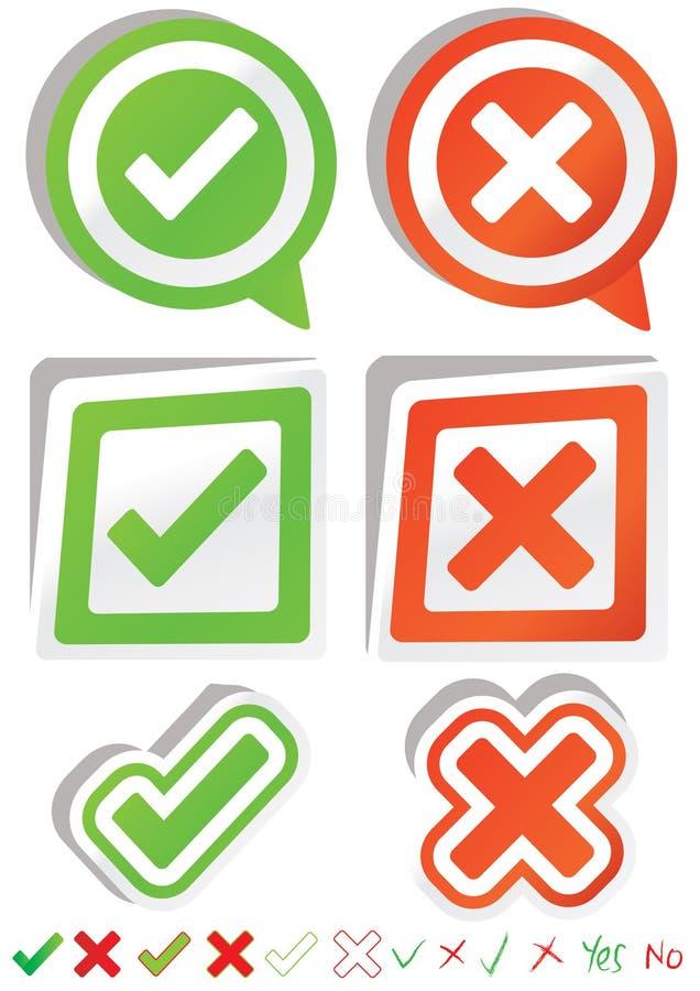 Sim No. Stickers_eps ilustração stock