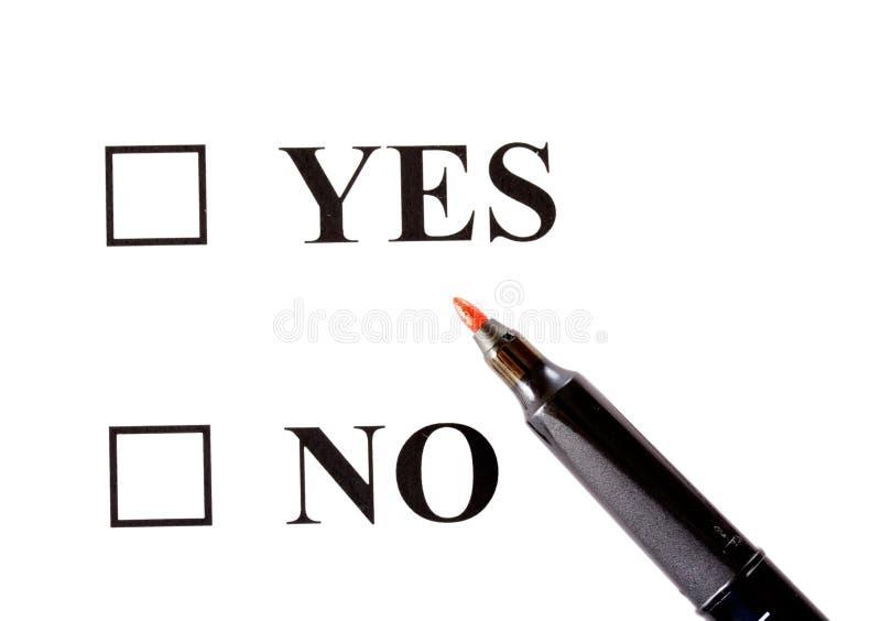 Sim ou não imagem de stock