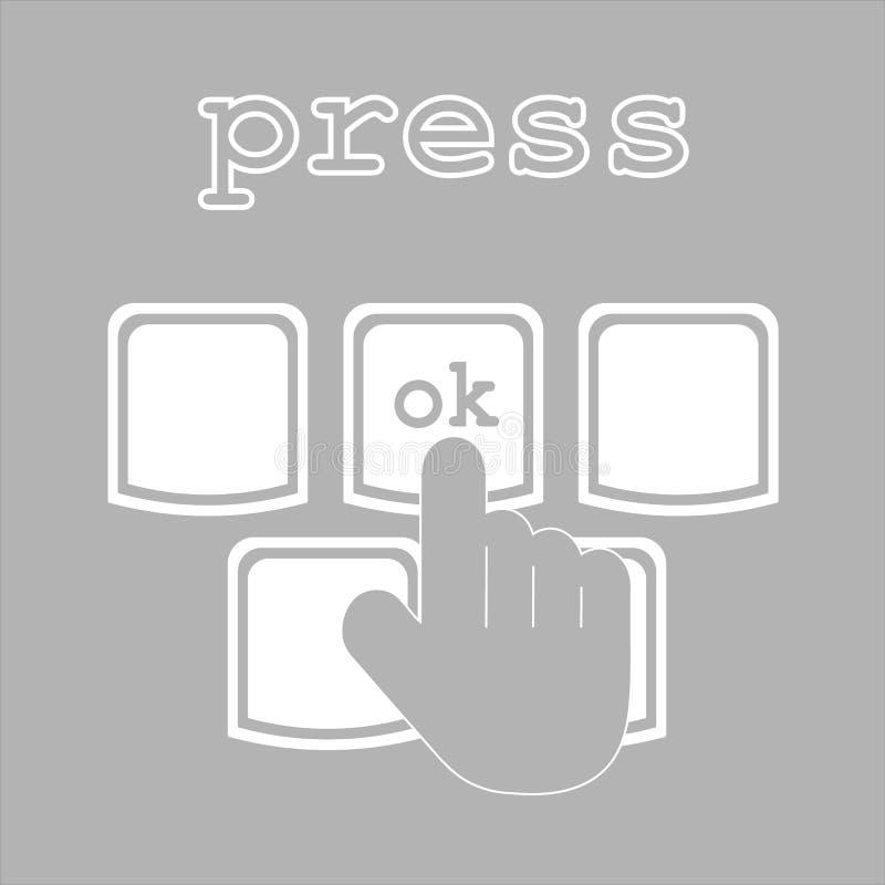 Sim ou nenhum ícone do giz do clique Aceite e diminua bot?es Tecla da press?o de m?o Ilustra??es isoladas do quadro do vetor ilustração do vetor
