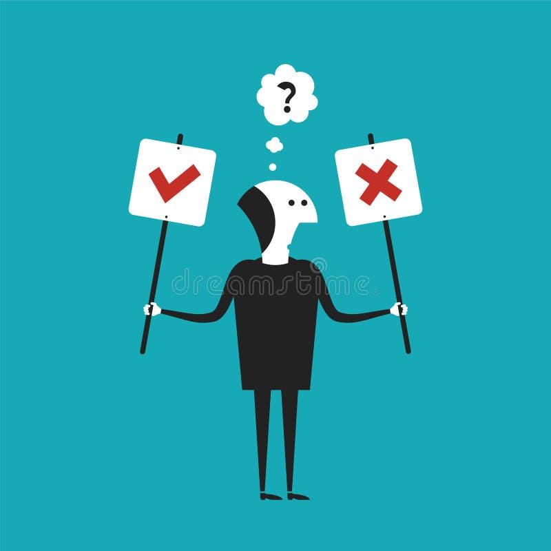 Sim ou nenhum conceito do vetor no estilo liso dos desenhos animados ilustração do vetor