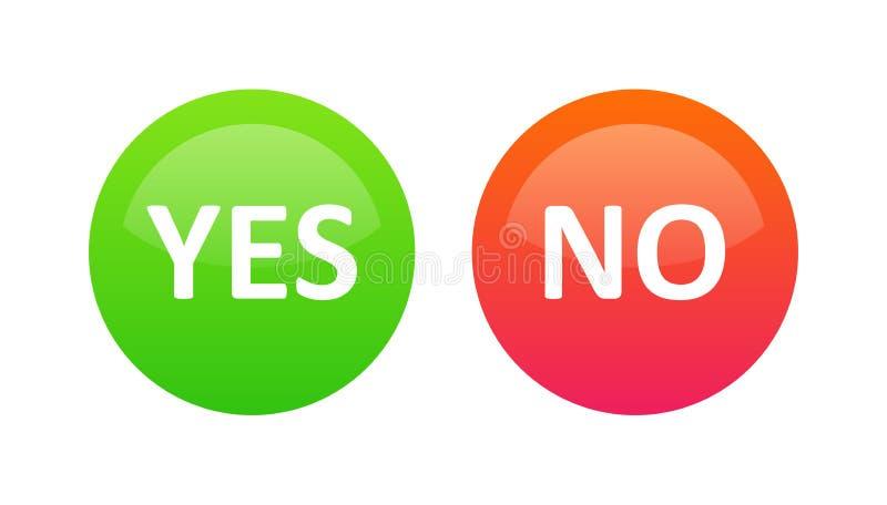 Sim ou nenhuns botões da seleção para a votação no Web site ou a aplicação móvel - grupo do vetor dos sinais vermelhos e da cor v ilustração do vetor