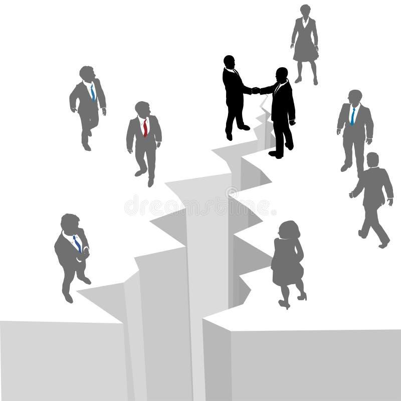 Sima del reparto del cierre del acuerdo del apretón de manos de la gente ilustración del vector