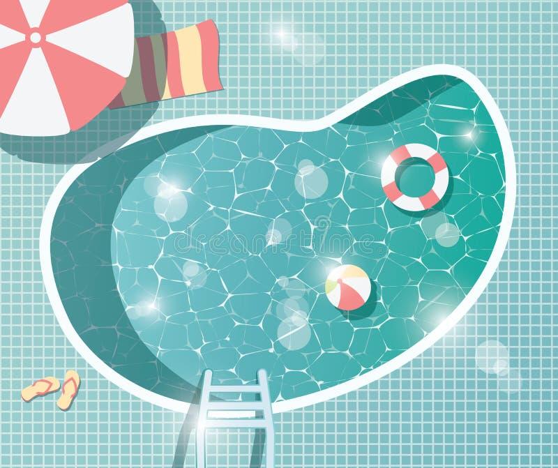 Simbassäng bästa sikt, semester för ferie för sommartid, frikändvatten vektor illustrationer