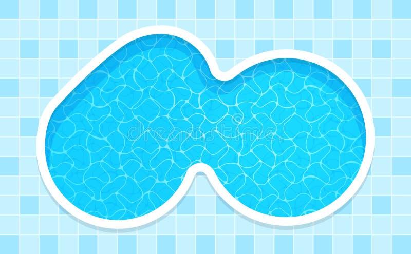 Simbassäng i bästa sikt, härlig vattenyttersidapöl för bakgrund, vattenyttersidakrusningar och genomskinlig reflexion, somma stock illustrationer