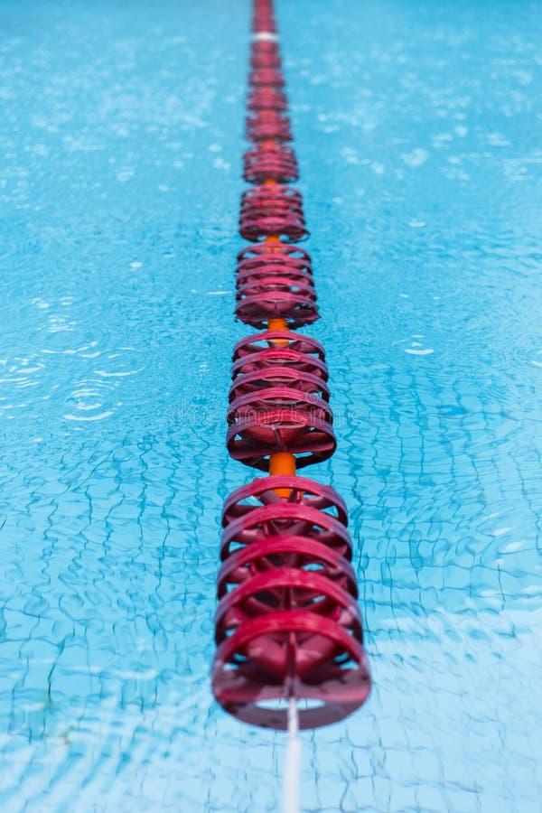 Simbassäng med röda flöten arkivfoto