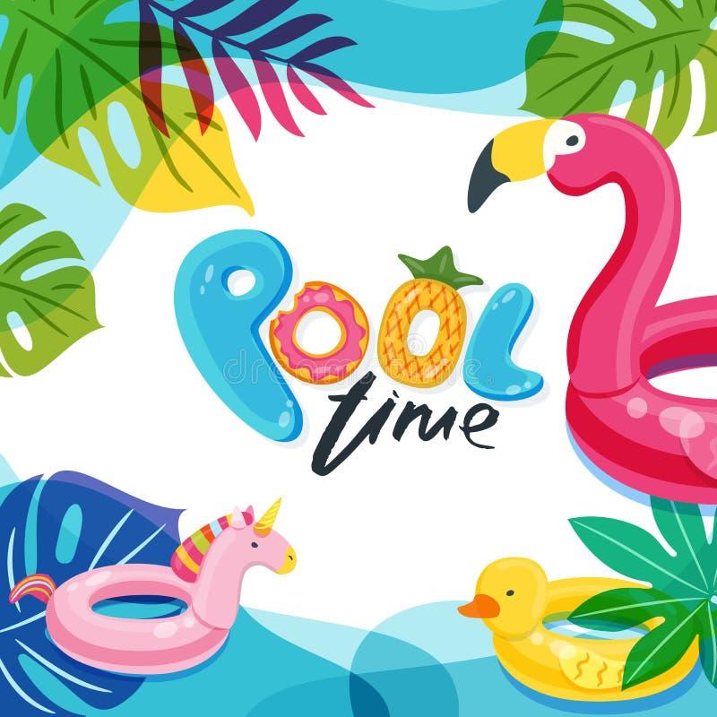 Simbassäng Tid Den flamingo-, and- och enhörningflötet lurar leksaker Sätta på land partivektoraffischen, reklambladet, banerdesi stock illustrationer