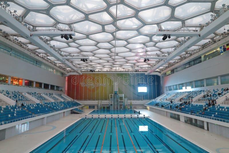 Simbassängen av vattenkuben i Peking, Kina royaltyfri fotografi