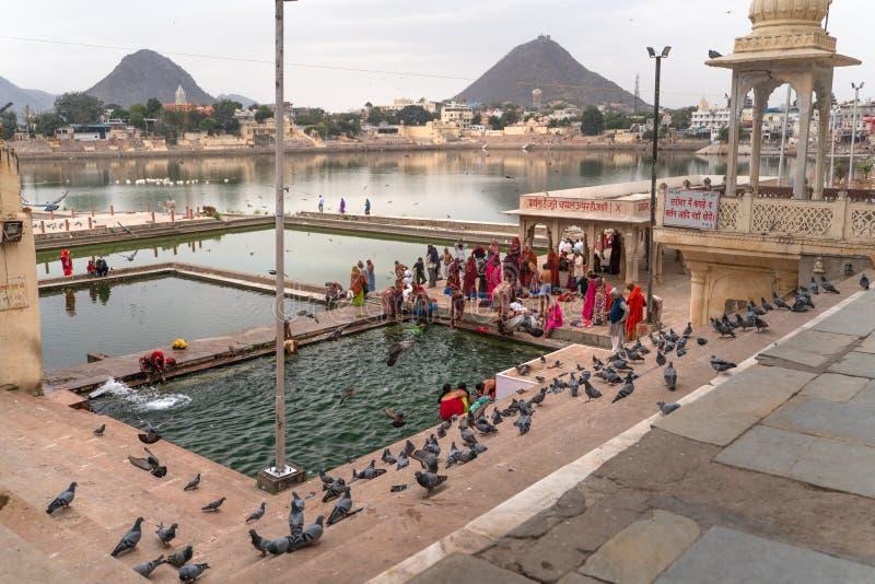 Simbassängerna i Pushkar royaltyfri fotografi