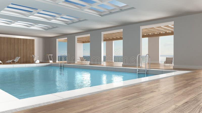 Simbassänginredesign, inomhus med det stora panorama- fönstret vektor illustrationer