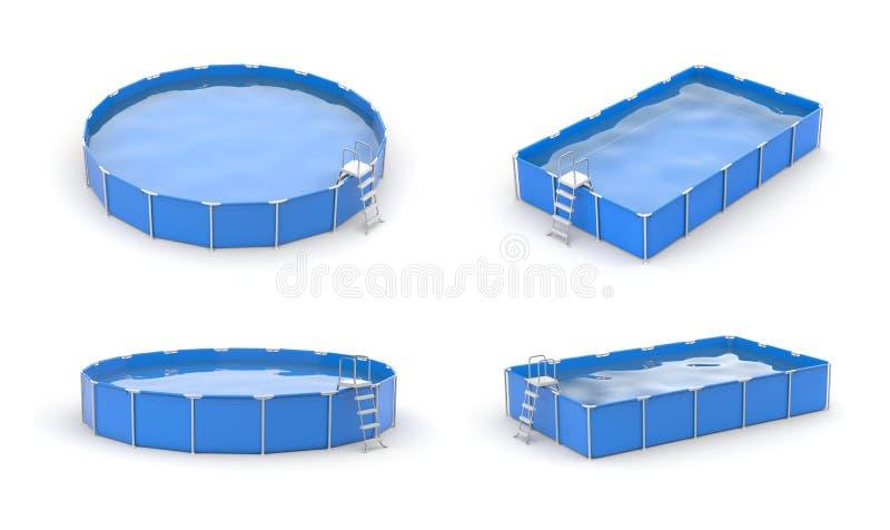Simbassängsymbolsuppsättning blåa pölar royaltyfri illustrationer