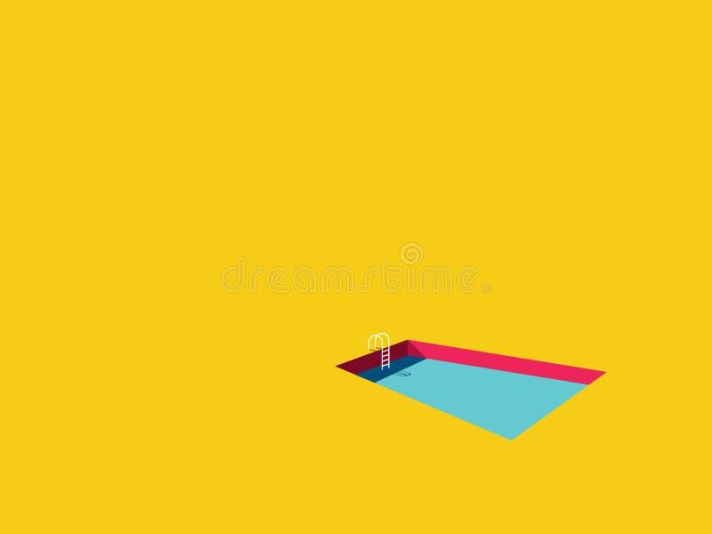 Simbass?ngvectorcartoon i ljus f?rgrik stil Symbolet av sommarferie, semester, kopplar av, fritid vektor illustrationer
