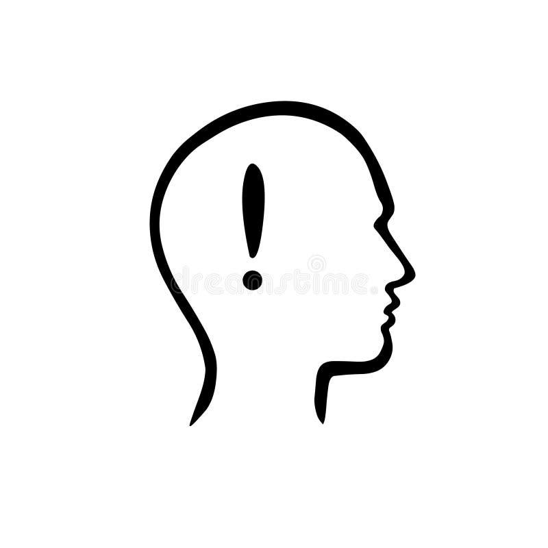 Simbol ιδέας Σημάδι θαυμαστικών μέσα ενός ανθρώπινου κεφαλιού ελεύθερη απεικόνιση δικαιώματος