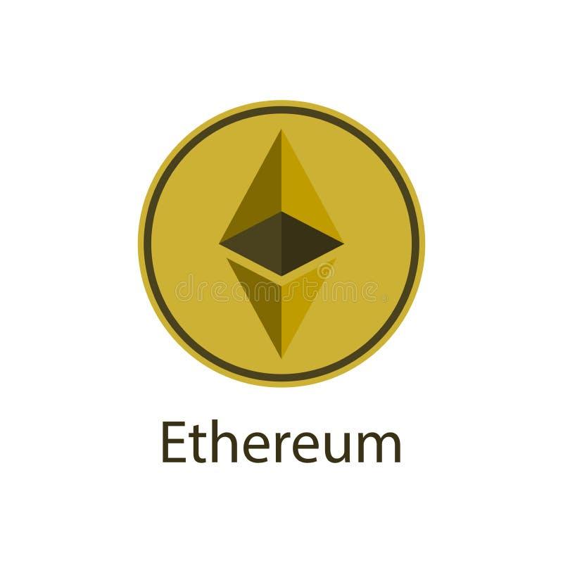 Simbol del icono de Ethereum, logotipo de la moneda de digital en el fondo blanco Ilustración del vector libre illustration