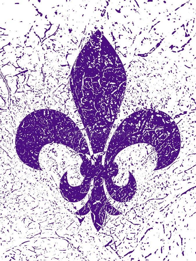 Simbol di martedì grasso - giglio araldico Fondo di lerciume illustrazione di stock