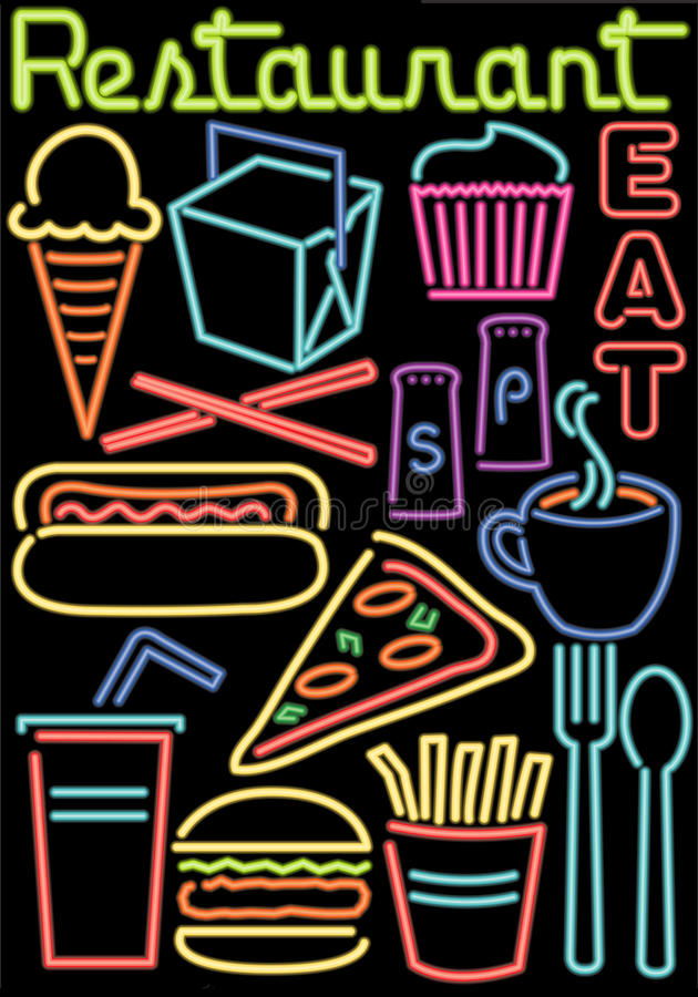 Simboli al neon alimento/del ristorante illustrazione vettoriale