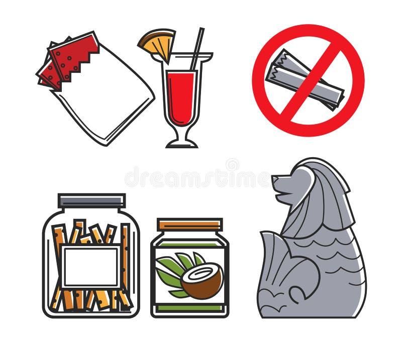 Simboli alimento ed oggetti isolati architettura del paese di Singapore royalty illustrazione gratis