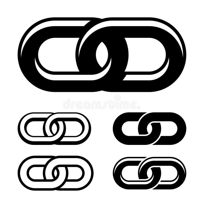 Simboli bianchi neri insieme a catena illustrazione vettoriale