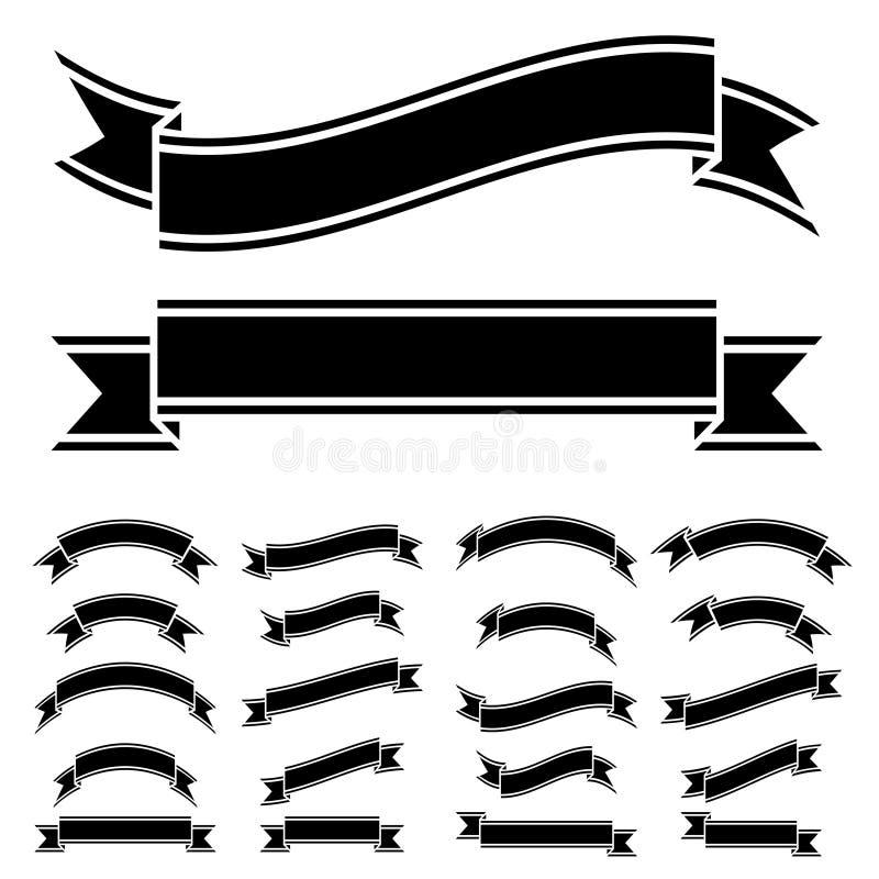 Simboli in bianco e nero del nastro illustrazione vettoriale