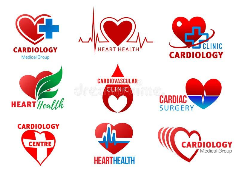Simboli cardiaci di salute del cuore della chirurgia di cardiologia illustrazione di stock