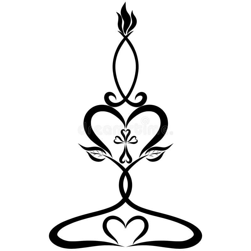 Simboli cristiani, modello decorativo, candela sotto forma di fis royalty illustrazione gratis