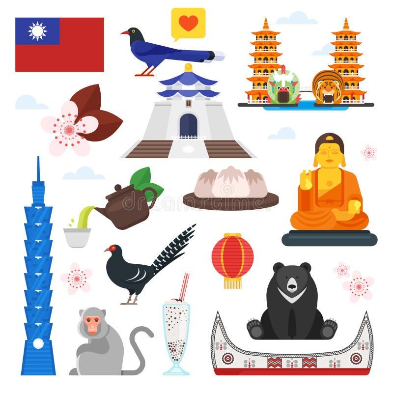 Simboli culturali di Taiwan illustrazione vettoriale