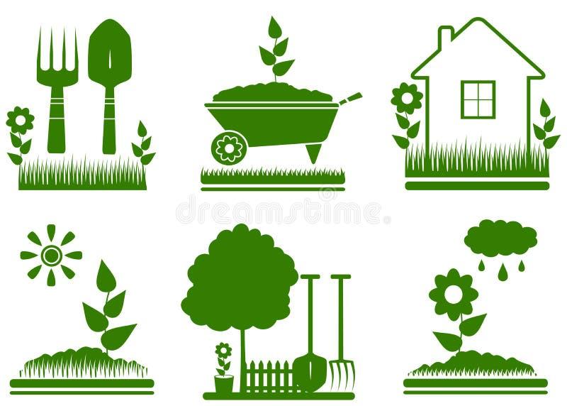 Simboli d'abbellimento isolati del giardino illustrazione di stock