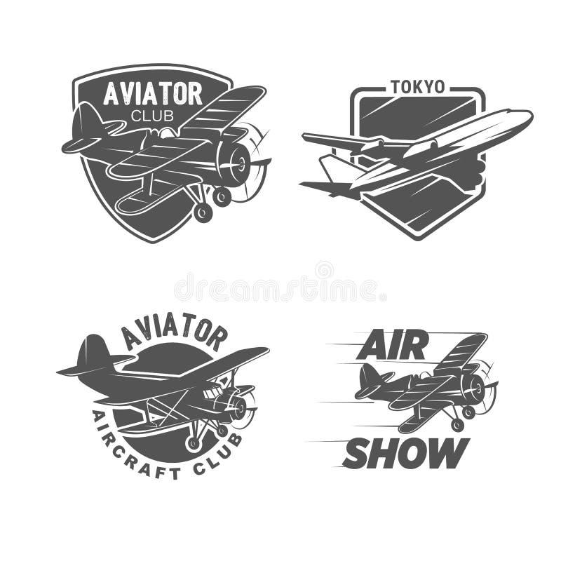 Simboli d'annata dell'aeroplano, logotypes, illustrazioni Raccolta di bolli di aviazione illustrazione di stock
