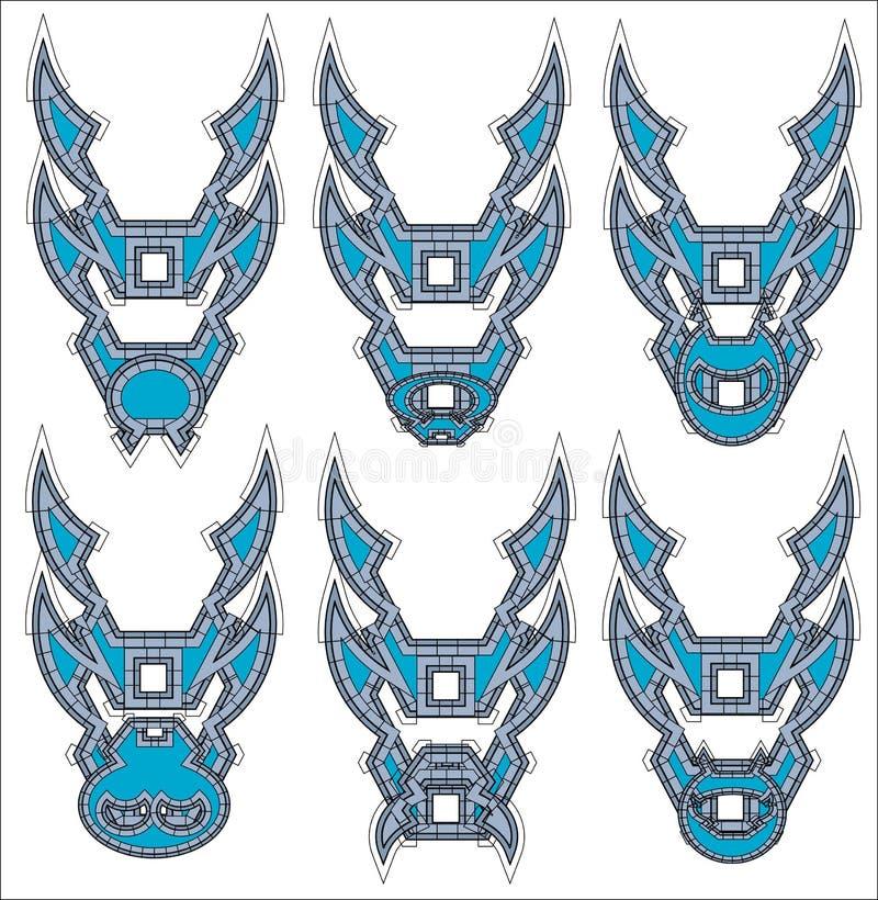 Simboli dei draghi nell'icona tribale di stile fotografia stock libera da diritti