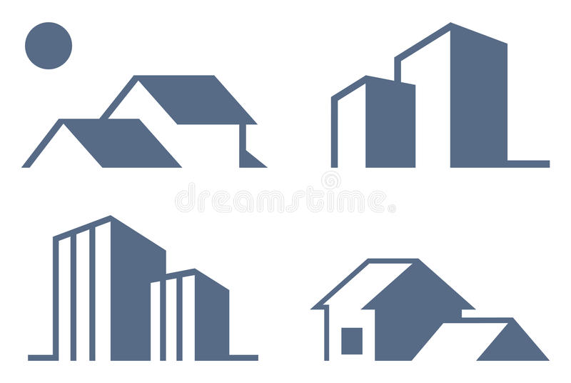 Simboli del bene immobile illustrazione vettoriale