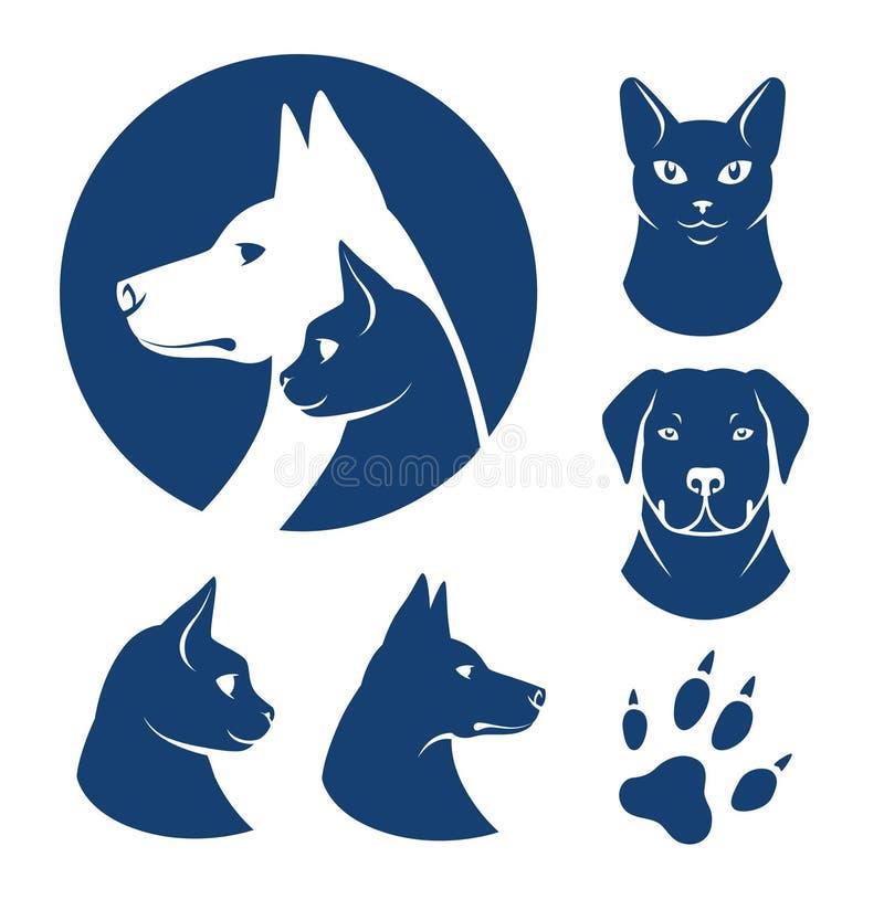 Simboli del cane e del gatto illustrazione di stock