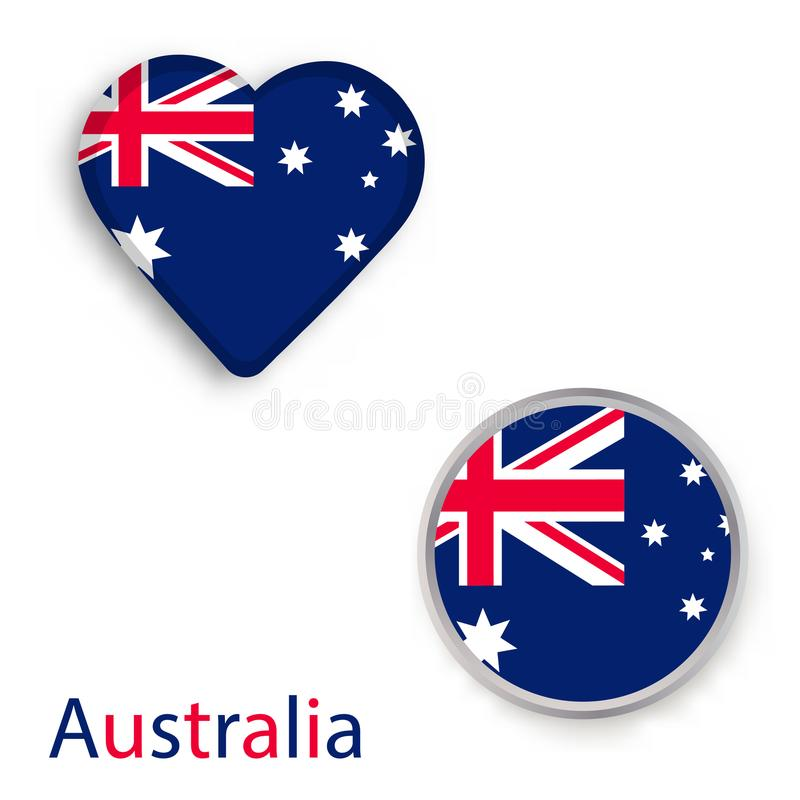 Simboli del cerchio e del cuore con la bandiera dell'Australia illustrazione di stock