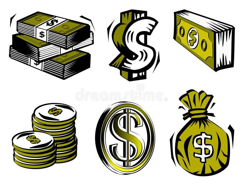 Simboli del dollaro illustrazione vettoriale