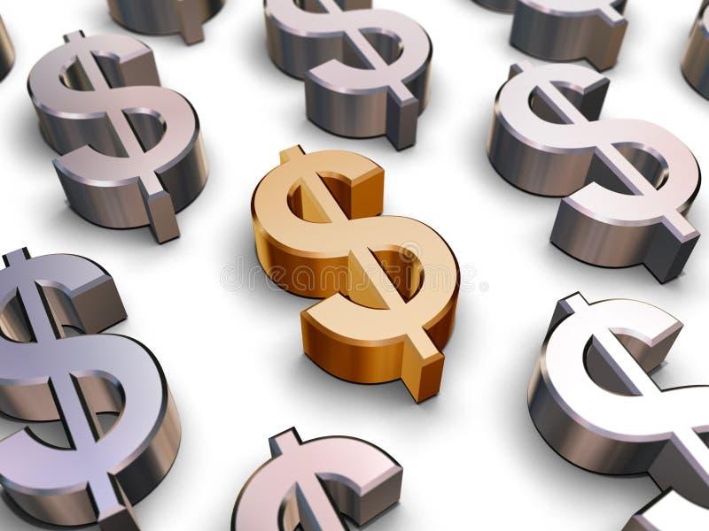 simboli del dollaro 3D illustrazione vettoriale